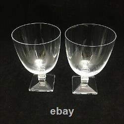 Pair of Lalique Argos Crystal Water Goblet Wine Glass France Mint LkNew