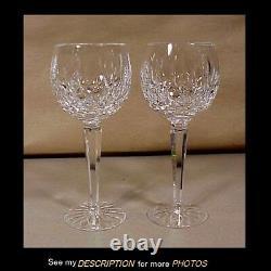 Pair unused Waterford Lismore Irish Crystal 7-1/2 Hock Wine Glasses