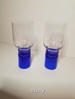 Pierre Cardin vintage cobalt blue crystal wine glasses
