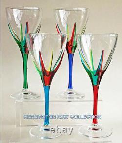 Positano Wine Glasses Set Of Four Hand Painted Venetian Glassware