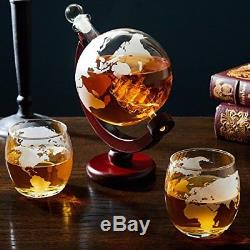 Quality Bar Wine Liquor Whiskey Scotch Decanter Glass Vintage Globe Drink Set