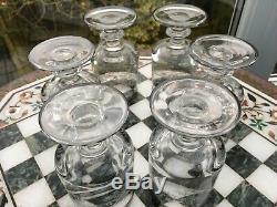 RARE 6 QUALITY heavy FOOTED MURANO MEDICI INTERGLASS WINE GLASS PLATINUM EDGE