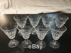 RARE EIGHT VINTAGE TRAMORE CUT CRYSTAL WINE GOBLETS BY WATERFORD- 2 Size 4ea