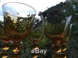 RARE ST LOUIS BUBBLES 98215 tall Crystal WINE GLASSES amber coloured SIGNED