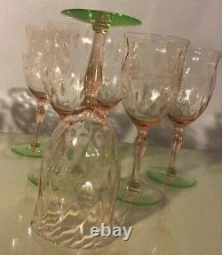 RARE Tiffin Diamond Optic Etched Floral Pink Green Vaseline Glasses Set Of 12