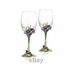 RORO Wedding Gift, Enameled and Jeweled Bohemian Crystal Wine Goblets, Swarovski