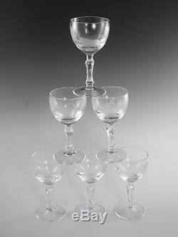 ROWLAND WARD Crystal 5 1/4 Wine Glass Set (6) Cut by Moser