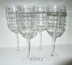 Ralph Lauren Crystal 4'FOSTER' Cut Wine Goblets or Water Glasses 9.25 HTF Mint
