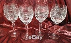 Ralph Lauren Crystal Glen Plaid Water Goblets Wine Glasses Set of 4