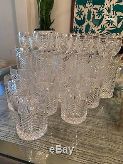 Ralph Lauren Crystal HERRINGBONE Lowball, Highball and Wine Goblet 30 pcs set