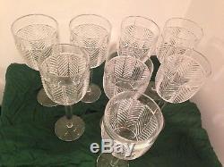 Ralph Lauren Herringbone Fine Crystal Goblets Wine Water Glasses (Set of 8) -New