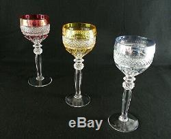 Rare Antique BACCARAT Crystal 3 x Wine Goblet Aquamarine Amber Cherry Red
