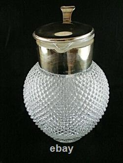 Rare Antique BACCARAT Crystal Gilt Metal Mounted Wine / Juice Pot with Cover