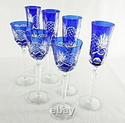 Rare Antique BACCARAT Flawless Crystal 4 Champagne & 3 Wine Goblets with Rocailles