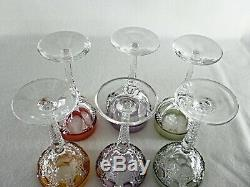 Rare Antique BACCARAT Flawless Crystal 6 x Large Wine Goblet with Multi-Color