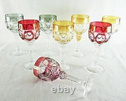 Rare Antique BACCARAT Flawless Crystal 8 x Large Wine Goblet with Deep Cut