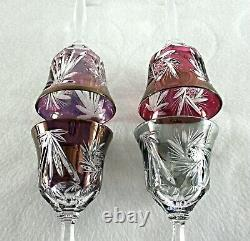 Rare Antique BACCARAT Flawless Crystal Set 4 x Multi-Color Red Wine Goblet