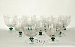 Rare Art Deco BACCARAT Cotes Venitiennes 9 x Red Wine Goblet with Green Knob