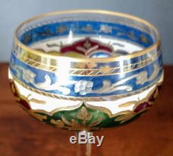 Rare Fritz Heckert c. 1883 Enameled, Silver, Gold Crystal Wine Glass 6 Facet Stem