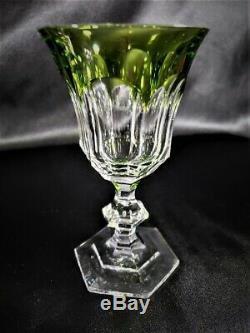 Rare Val St Lambert Crystal Green Cut to Clear Metternich Pattern Wine Goblets 5
