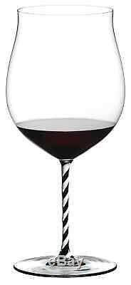 Riedel Fatto A Mano Burgundy Grand Cru Wine Glass Black White Twisted Stem NEW