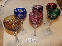 Roemer Wine Glasses 6 Stemmed Cut Crystal Etched Vibrant Colors