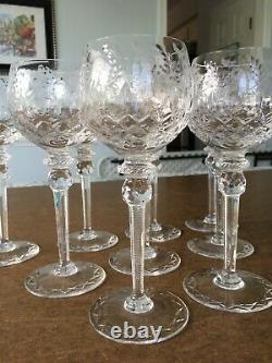 Rogaska Gallia Hock Wine Glasses-Set of 9