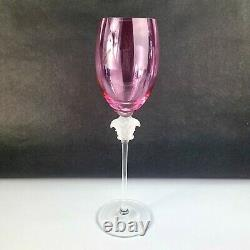 Rosenthal Crystal Glass Versace Medusa Lumiere Cranberry Pink Wine Goblet 10 1/2
