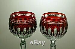 Ruby Red Waterford Crystalclarendon Cut Wine Hock Glasses Set Of 2 7 7/8