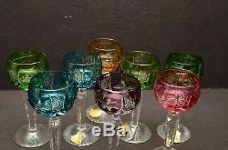 SET 8 MULTI COLORS BOHEMIAN CUT CLEAR CRYSTAL Cordial wine glasses goblets stem