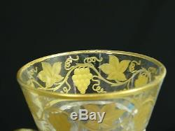 SET of 7 VINTAGE 1950's VAL St LAMBERT CRYSTAL PAMPRE D'Or GRAPES CORDIAL 4.25