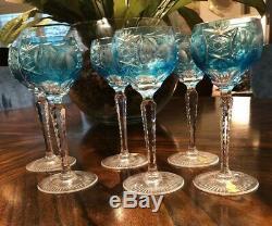 SIX 6 Nachtmann Traube Wine Hock Azure Aqua Blue Cut to Clear Cased Crystal