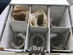 SIX (6) St. Louis SIGNED Crystal BUBBLES Burgundy Wine Hock Clear