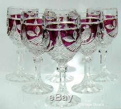 SIX German Hofbauer Ruby Red Byrdes Bird lead Crystal wine goblets