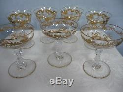 ST. LOUIS CRYSTAL MASSENET GLASSES, CLEAR withGILT ENAMEL, 4 WINE & 3 CHAMPAGNE