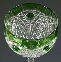 ST LOUIS Crystal Fancy Cut Design Green Hock Wine Glass / Glasses 7 3/4