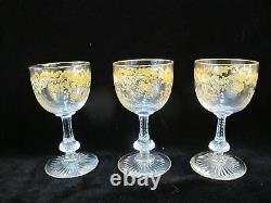 ST LOUIS French MASSENET Gold Encrusted Clear Crystal BURGUNDY Wine Glass Set