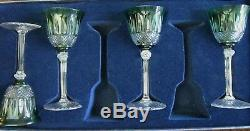 Saint Louis Crystal Green Cut To Clear (8) Hock Wine Glasses