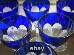 Saint Louis France Bristol Blue Cut To Clear Crystal Set Of 6 Wine Glasses
