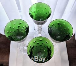 Saint-Louis St Louis Crystal 4 Green Bubbles Wine Hocks Glasses w Labels Perfect