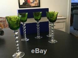Saint Louis St Louis Crystal Green Bubbles Wine Hocks Glasses Individual Exc