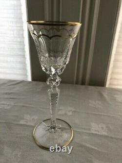 Saint Louis crystal set of 6 water glasses. Excellence Pattern withgold 10.2 NEW