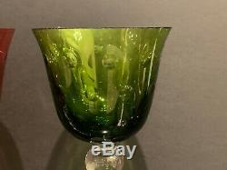 Saint St Louis Crystal Bubbles Pattern Green and Red Hock Wine Glasses Set of 2