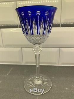Saint St. Louis Crystal Tommy Cobalt Blue Wine Hock Glass Goblet 7 3/4 H France