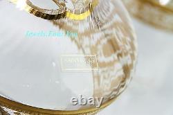 Saint St. Louis For Hermes Set Wine Decanter & 4 Glasses 24k Gold Thistle New