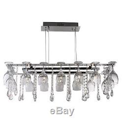 Searchlight 10 Lights Modern Wine Glass Chrome Ceiling Fitting Pendant Light New
