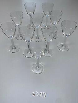 Set 10 Lalique Crystal Stemware Phalsbourg 6 1/2 Wine Goblet Glasses EXCELLENT