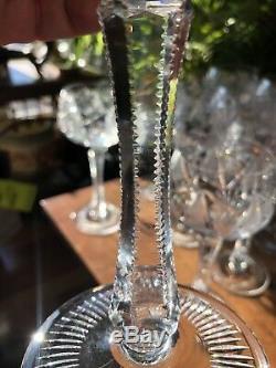 Set 12 mint Cut Crystal Glass Bohemian Hock Wine Goblets + 2 Bonus Smaller
