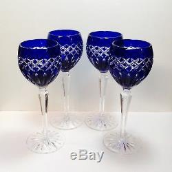 Set 4 Ajka Cadessia Cobalt Blue Cased Cut To Clear Crystal Wine Glass Hocks