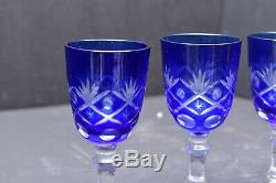Set 4 Bohemian Czech Cut To Clear Cobalt Blue Crystal Wine Goblet Stem Glasses